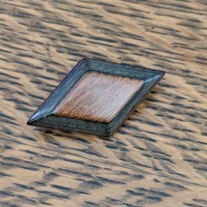 Wood diamond shape vintage pin brooch